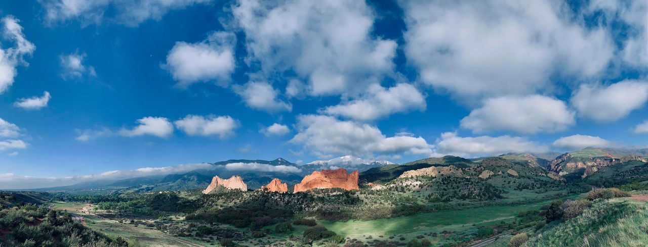 Panorama at Garden of the Gods Pikes Peak Colorado Mountains Colorado Springs Sky Cloud - Sky Architecture Built Structure Nature Building Exterior Day Beauty In Nature Mountain City Scenics - Nature Tranquility Landscape Outdoors