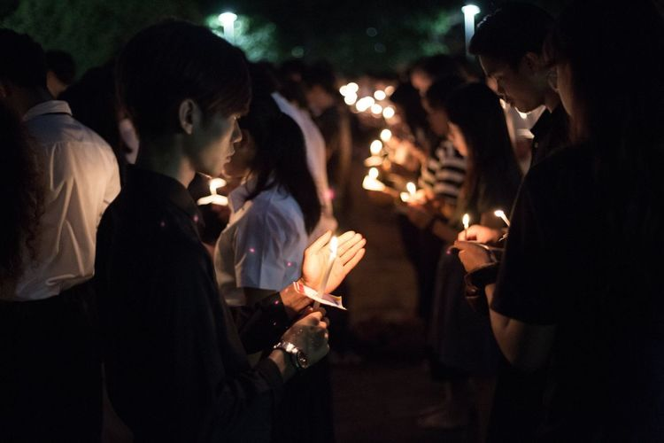 RAMA9 I Love King Sad Day Thailand Adult Burning Candlelights Celebration Crowd Enjoyment Illuminated Large Group Of People Lifestyles Men Night Outdoors People people and places Real People Social Gathering Standing Togetherness Women