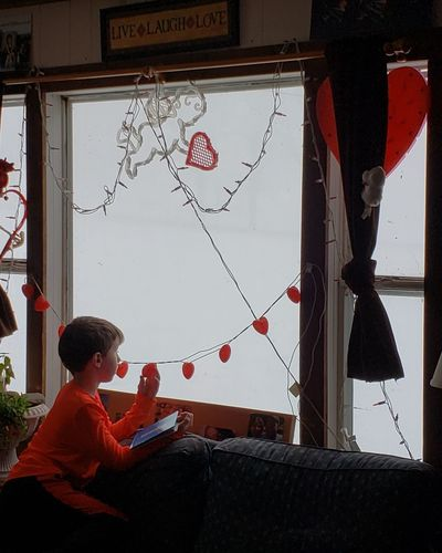 Whiteout conditions Whiteout Conditions Red Heart Shape Looking Through Window Valentine Day - Holiday I Love You Window Sill Valentine's Day - Holiday