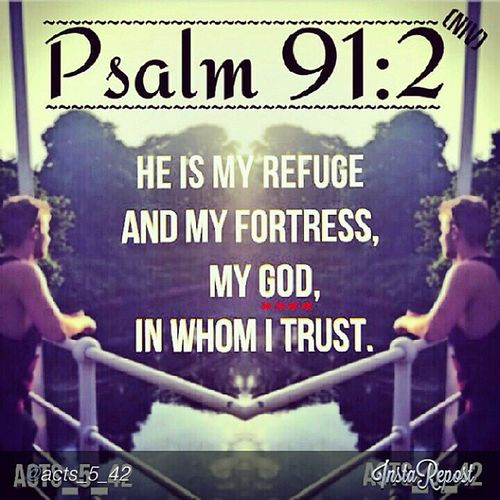 "by @acts_5_42 ""Psalm 91:2 (NIV) 2 I will say of the Lord, ""He is my refuge and my fortress, my God, in whom I trust."" StraightFromTheScriptures "" via @InstaReposts"