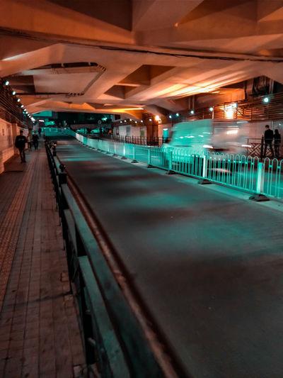 Illuminated lights at subway station