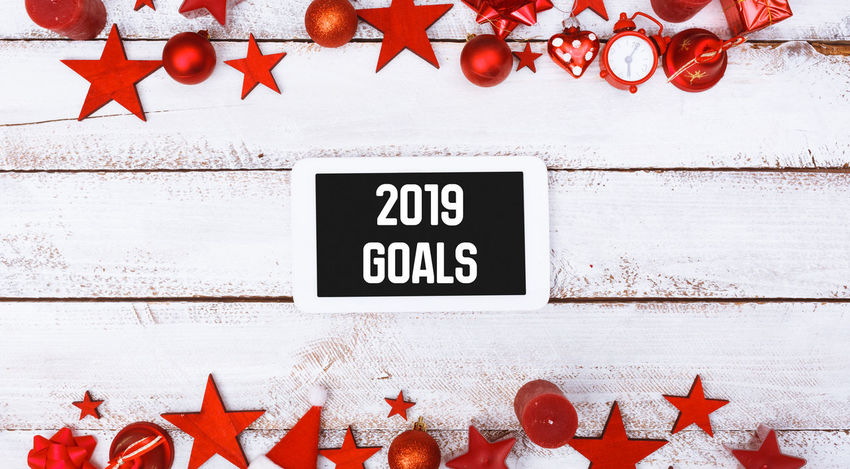 2019 Greeting Happy New New Year Panorama Resolutions Silvester Banner Beginning Change Close-up Communication Design Information Message Plans Red Sign Start Text Western Script Year