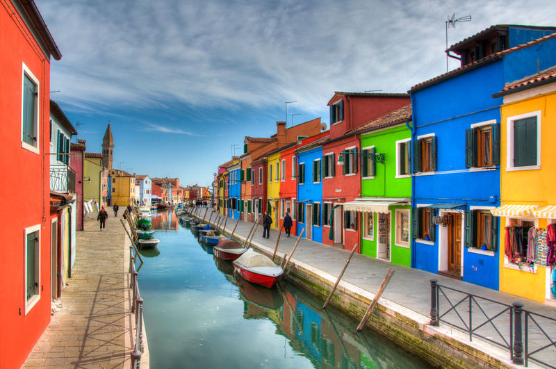Architecture Building Exterior Built Structure Burano City Cloud - Sky Color Day In A Row Moored Multi Colored Nautical Vessel No People Outdoors Reflection Sky Travel Destinations Water