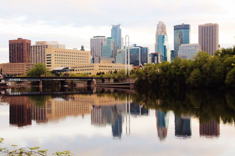Symmetrical Symmetry Minnesota Minneapolis Parks Minneapolis Architecture Built Structure Building Exterior City Reflection Water Building Urban Skyline Sky Skyscraper Modern Cityscape Landscape Office Building Exterior No People Nature Tall - High