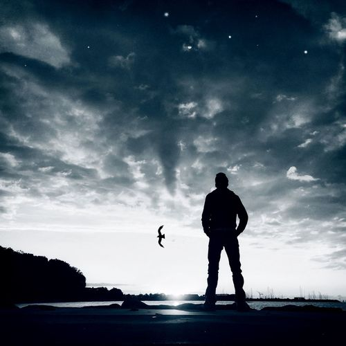 That's Me Hello World Silhouette Clouds And Sky Sunrise Landscape Selfportrait Day And Night Monochrome