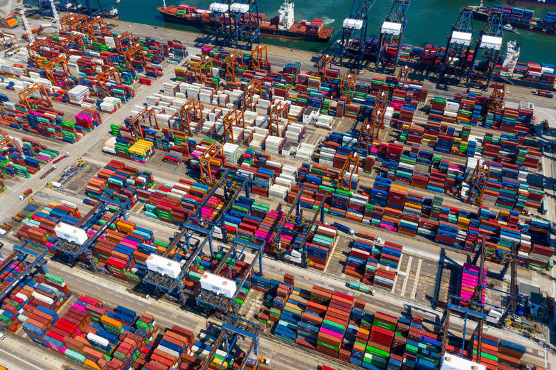 Top down view of Hong Kong downtown city Terminal Cargo Aerial View Container Port Shipping  Ship Warehouse Harbor Business Containers Commercial Dock Sky Sea Industry Transportation Industrial Heavy Trade Delivery Crane Thailand Export Carrier Goods Freight Loading Import Blue Kwai Chung Hong Kong Kwai Chung City Top Fly Drone  Over Above Down Top Down Panoramic Hk HongKong