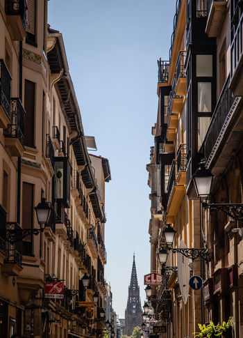 In the streets of San Sebastian SPAIN San Sebastian Travel Apartment Architecture Balcony Building Building Exterior Built Structure City Clear Sky Day House Lighting Equipment Low Angle View Nature No People Outdoors Residential District Sky Tall - High Travel Destinations Window