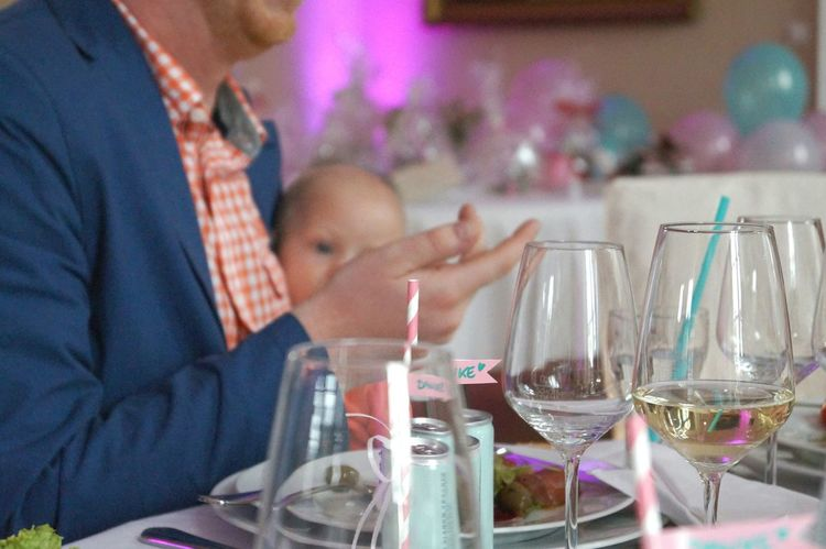 Chatting People Eating People Talking Baby Cropped People Drinking Straw Vase Glasses Stripes Pattern Pink And White On The Table Champagne Wedding Photography Flowers Vine Glasses Napkin Table Setting Pastel Colors Cutlery White Porcelain Sitting At The Table Wedding White Tablecloth Decoration Little Flags Balloons