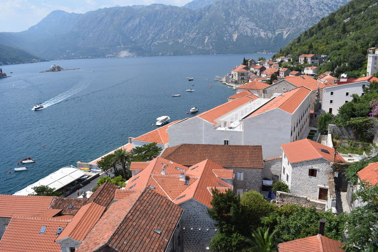 Kotor Bay Perast Montenegro Perast Bay Montenegro Architecture Building Building Exterior Built Structure City Community Day High Angle View House Montenegro Mountain Nature No People Outdoors Plant Residential District Roof Sea Town TOWNSCAPE Tree Water