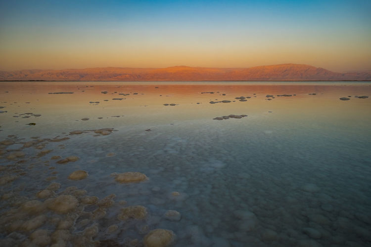 Scenic View Of Dead Sea During Sunset