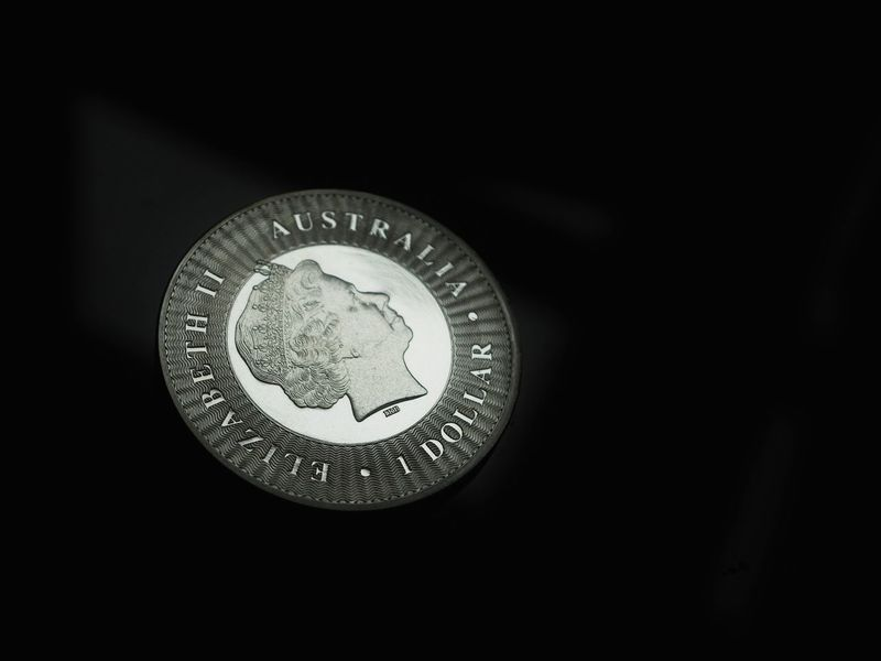 Bokeh Silver Colored Silver - Metal Silver  Australian Dollar AUD Numismatic Coin Coins Money Close-up