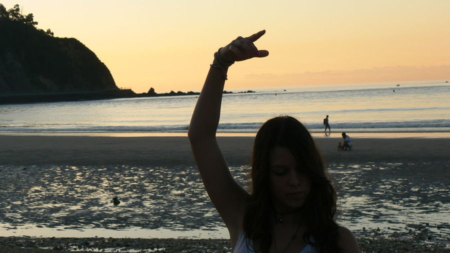 Silhouette Sunset Tourist Sea Vacations Outdoors Beach Adult People Nature Scenics Asturias Summer Young Women Ballerina Ballet Pose Ballett Lifestyles Vacations Enjoyment Leisure Activity Carefree One Person Real People Water