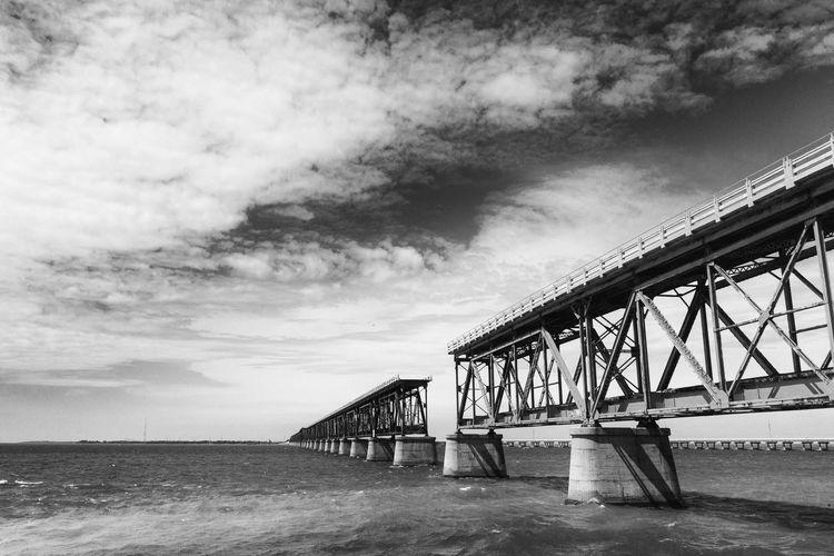 Construction Overseas Highway Bnw_bridge Bnw_bridges Allover The World Bnw_friday_eyeemchallenge Bridge Bridge - Man Made Structure Broken Day Florida Florida Keys Gap Old Outdoors Transportation Water