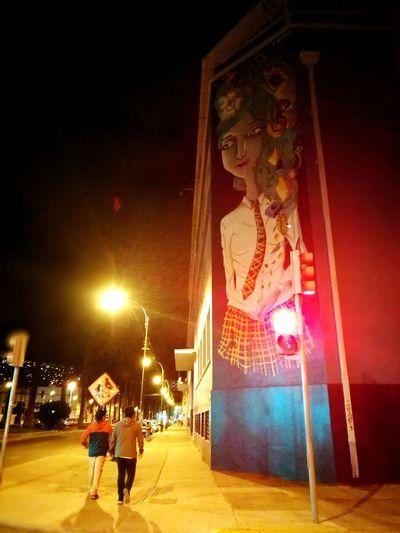 Valpo. Av Brasil 18.12.16 Illuminated Two People Night Lighting Equipment Outdoors Adult People Only Men Architecture City Valpo Valpogram Chile♥ Chilegram