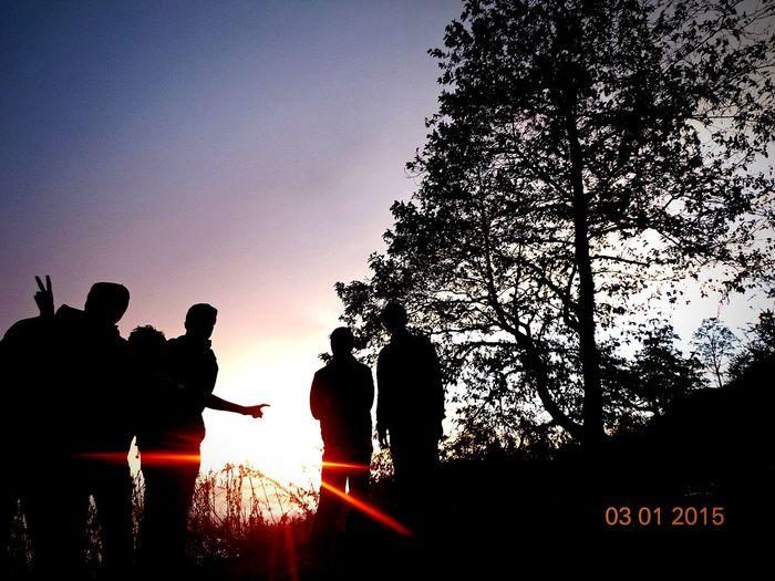 Friends Just Chillin' Nepal Near Ghalegaun Sunset Evening Sky