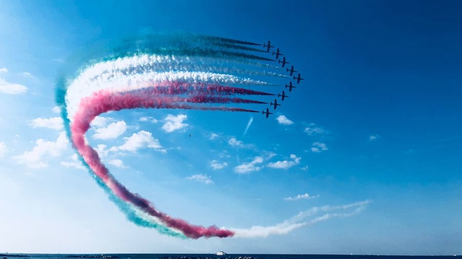 Frecce tricolori Sky Cloud - Sky Low Angle View Arts Culture And Entertainment Nature Motion Flying Airshow Airplane Speed Blue