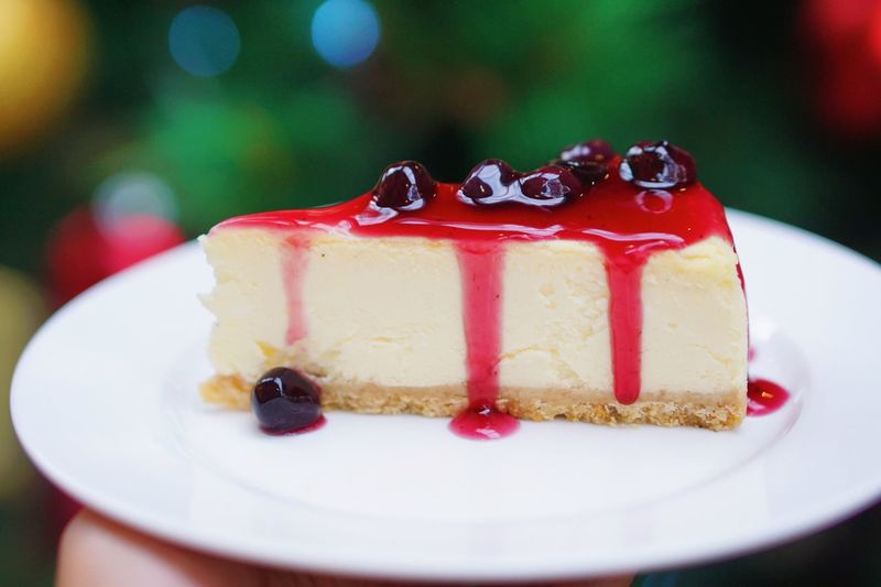 Delicious homemade blueberry cheesecake with red jam sauce serving on white plate with blurred background Serving Delicious Homemade Berries Cheesecake Dessert Sweet Food Cake Freshness Plate Temptation Indoors  Baked