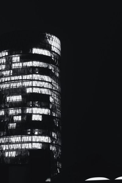 Dark Darkness And Light Illuminated Dark Photography No People Architecture Architecture_bw Architectural Detail Modern Monochrome Bw Blackandwhite Sky Built Structure City Building Frankfurt Westhafen Tower Westhafen Gutleutviertel