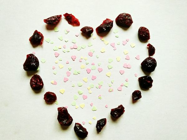 High Angle View Food Food And Drink Healthy Eating Day Hearts Small Hearts Heartshape Heartshaped Heart Shaped  No People The Week On EyeEm EyeEmNewHere Heart Pattern Heart Patterns Multi Colored Heart Shape Cranberry Cranberries Dried Cranberries Dried Food Food And Drink Heart ❤ Pattern Food Stories Love Yourself