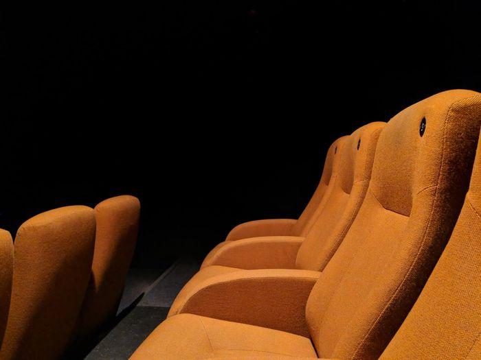 Photogenic cinemas: yellow pt.1Black Background Close-up Seat Indoors  Yellow Row Cinema Google Pixel 2 No People Copy Space Studio Shot Day F/1.8 1/19 Sec More Than One via Fotofall