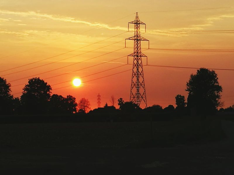 Tramonto Sun Electricity Pylon Power Line  Sunset Electricity  Tree Landscape Cable Tranquil Scene Cloud Fuel And Power Generation Power Supply Tranquility Sky Scenics Lens Flare Electricity Tower Power Cable Solitude Nature