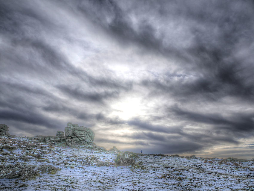 Hound Tor Wintery day (HDR) Dartmoor HDR Hound Tor Cloud - Sky Sky Snow Winter