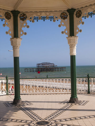 Incomplete Structure In Sea At Brighton Beach Seen Through Gazebo