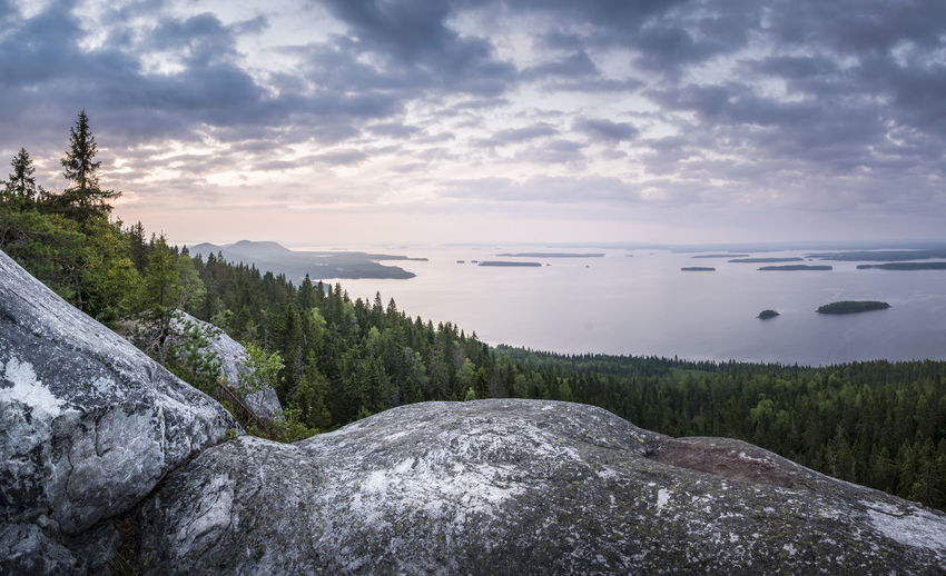 Scenic landscape with sunset and lake at evening time in Koli national park, Finland Atmospheric Mood Clouds And Sky Colorful Sky Evening Light FAR AWAY Hill Horizon Over Water Lake Landscape Light And Shadow Mind  Mountain National Park Nature No People Outdoors Peace And Quiet Peaceful Pure Rocky Scenics Silence Spruce Stony Sunset The Great Outdoors - 2018 EyeEm Awards