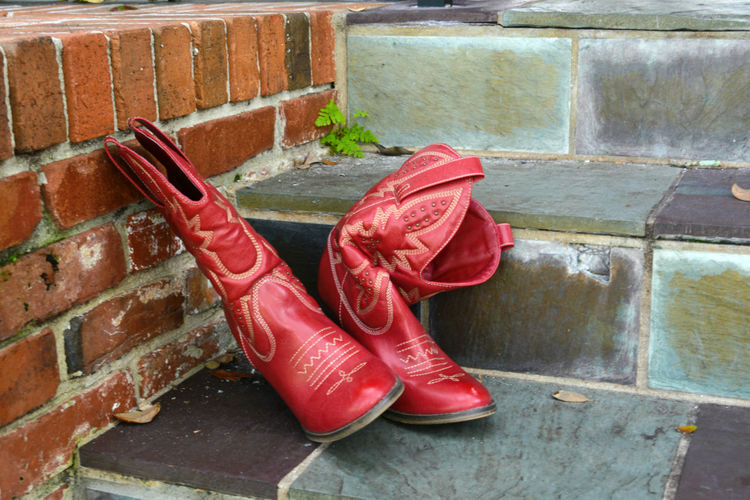 Boot Brick Wall Bricks Cowboy Boots Day Front Porch Outdoors Ranch Life Red Red Boots Relaxation Stairs Steps Steps And Staircases Weathered