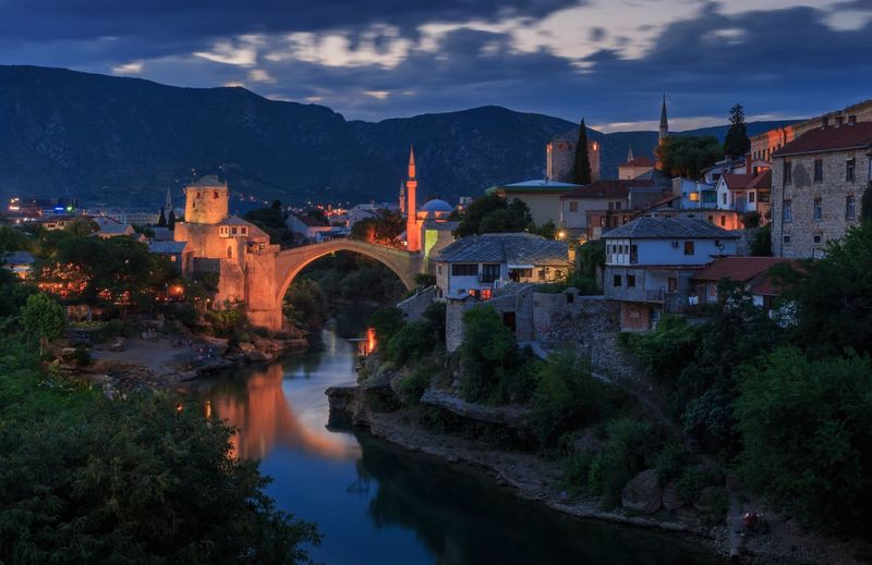 Old town Mostar Sunset Bosnia And Herzegovina Mostar Architecture Built Structure Building Exterior Sky Water Mountain River Outdoors Cloud - Sky Bridge - Man Made Structure Waterfront