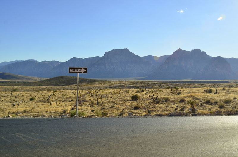 One way sign in mojave desert landscape