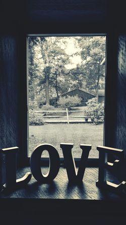 LOVE Window Indoors  Close-up Weathered