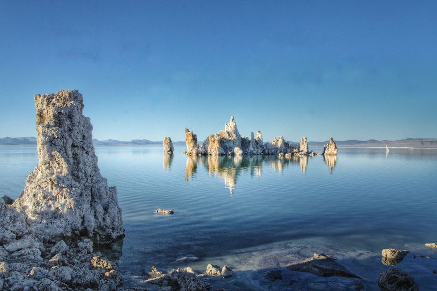 Tufas at Mono Lake, CA Water Group Of People Sky Nature Blue Day Large Group Of People Clear Sky Land Sea Reflection Travel Holiday Outdoors Crowd Sunlight Beauty In Nature Motion Trip