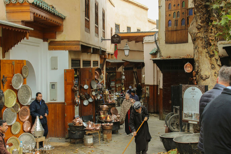 Alleys of Morocco City Fes Arabic Architecture Building Exterior Built Structure Copper  Day Men Moroco Outdoors People Real People Standing