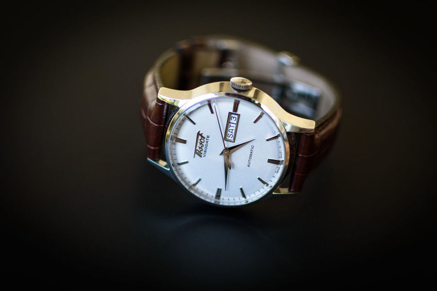 Tissot visodate heritage collection Tissot Luxurywatch Swisswatch Blankandwhite Coloured Productphotography Watchphotography Automaticwatch Tissotheritagevisodate Visodate Tissotheritagecollection Heritage Heritagecollection Luxury Watch Brown Band EyeEm Selects Time Roman Numeral