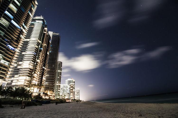 Architecture Beach Buildings Coastline Landscape Lights Miami Night Sky Stars Water