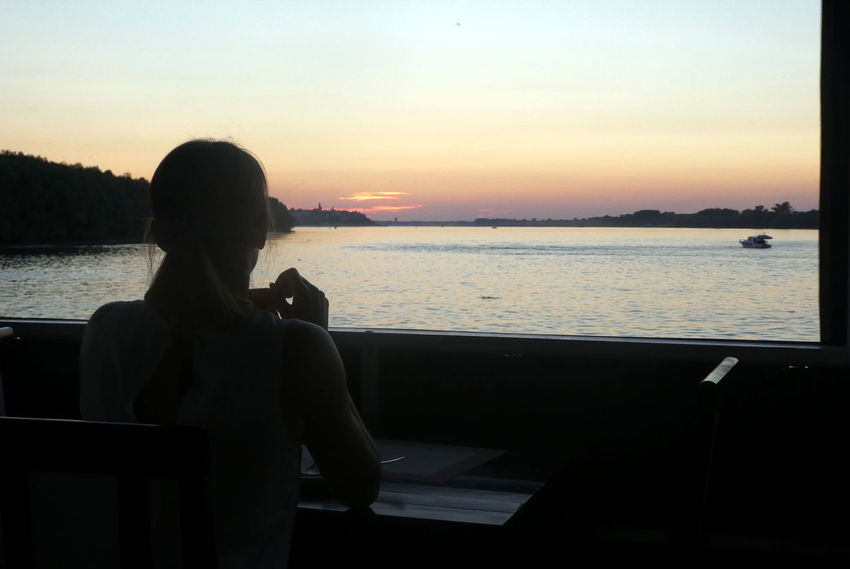 Belgrade Sava River Tourism Europe Balkan Sunset One Person Silhouette Water