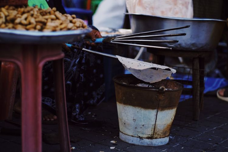 Close-up of food on table at market stall
