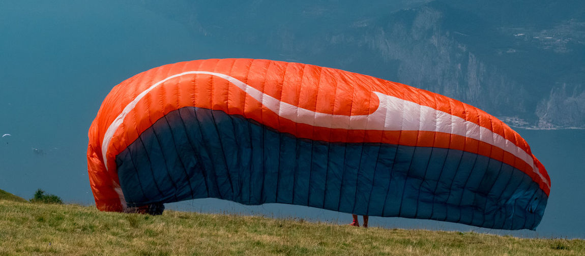 Parachute on grassy mountain