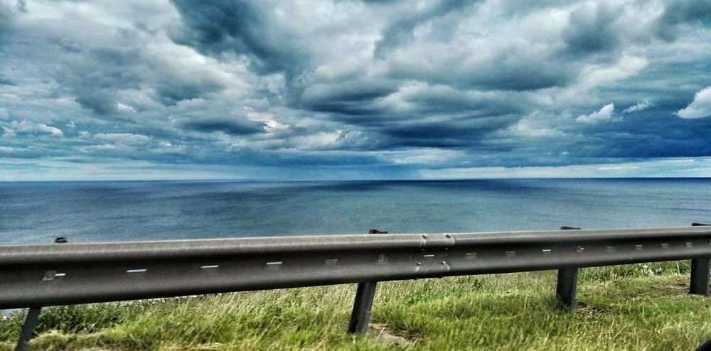 Clouds And Sky Seascape Rain In The Distance No People On The Road Drivebyphotography