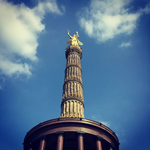 Berlin Siegessäule  Berlin Sky Architecture Low Angle View Built Structure Cloud - Sky Travel Destinations Building Exterior The Past