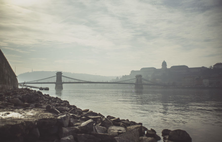 Bridge Bridge - Man Made Structure Budapest Budapest, Hungary Clouds Clouds And Sky Connection Distant Foggy Light Outdoors Panorama River Street Photography Streetphotography Water