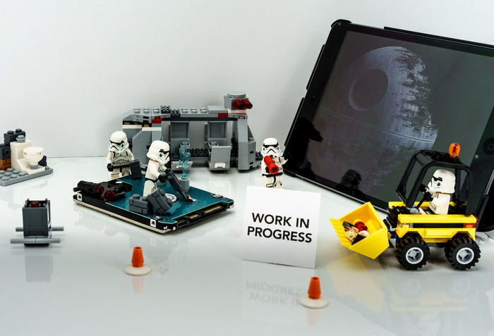 Blueprint Building Construction Copy Space Creating Death Star In Indoors  Ipad LEGO Planning Progress Showcase April Star Wars Still Life Storm Trooper Table White Background Work