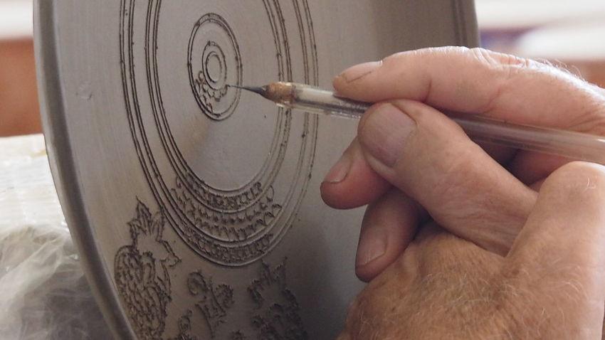 Hand Made Decoration Skills  Ceramics Factory Bonis Ceramics Rhodes Greece Ceramic Art Craft Ceramic Plate Art And Craft Close-up
