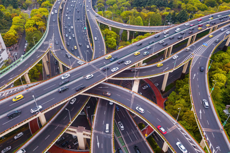 High angle view of cars moving on elevated road
