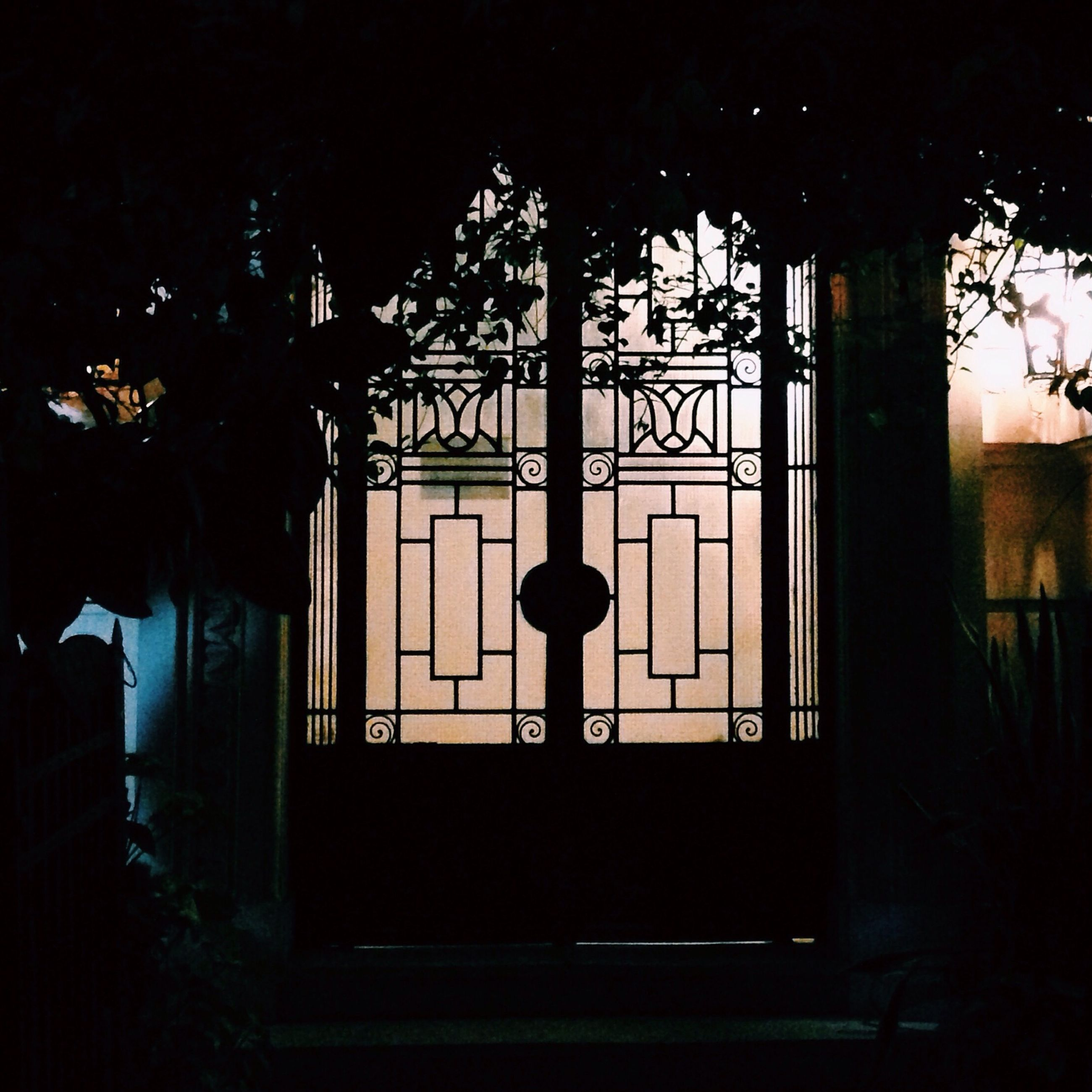 built structure, architecture, silhouette, window, night, building exterior, lighting equipment, illuminated, tree, house, dark, low angle view, street light, indoors, no people, closed, entrance, gate, door