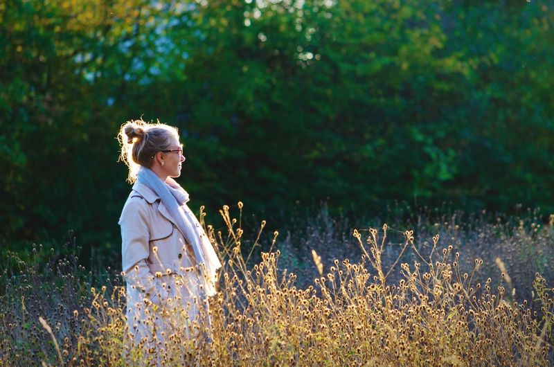 """Hope is a good thing."" Appreciation Self Awareness Expectation Alone Smile Happy Happiness Girl Blonde Tall Grass Young Adult Fashion Fall Scarf Autumn Coat Sunglasses Hope One Person Plant Field Side View Nature Leisure Activity Women Three Quarter Length Outdoors Lifestyles Standing Growth"