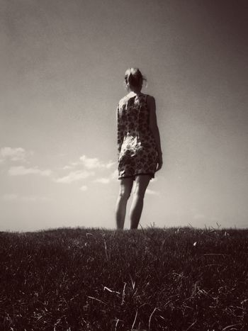 Field Full Length Grass Landscape Nature One Person Outdoors Real People Rear View Sky Standing Women