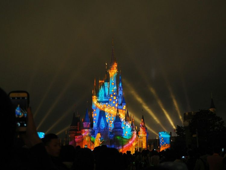Projection Mapping Castle Disney Taking Photos Holiday