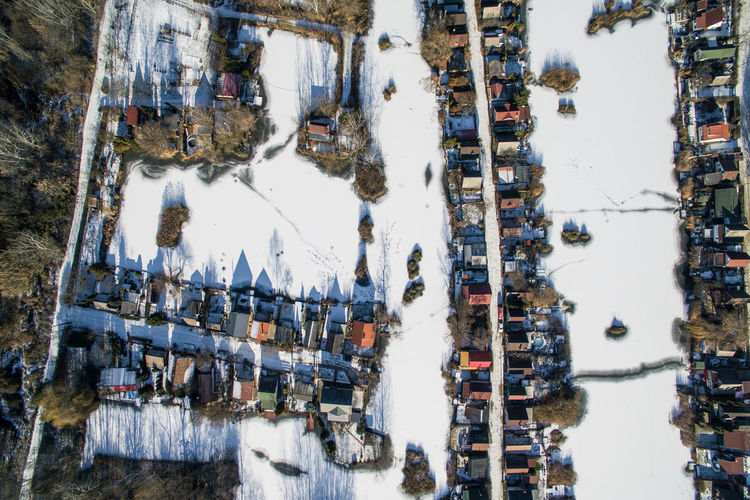 Above Beauty In Nature Day Drone  Frozen Garden High Angle View Houses Ice Lake Nature Outdoors Sky Top Perspective Tree Village Water Winter